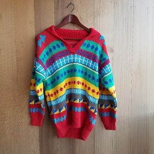 Vintage Rainbow Tribal 90's Collared Sweater